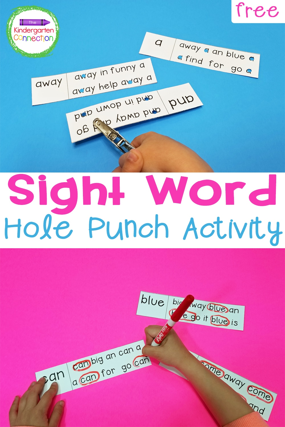 Free Sight Word Hole Punch Activity The Kindergarten Connection