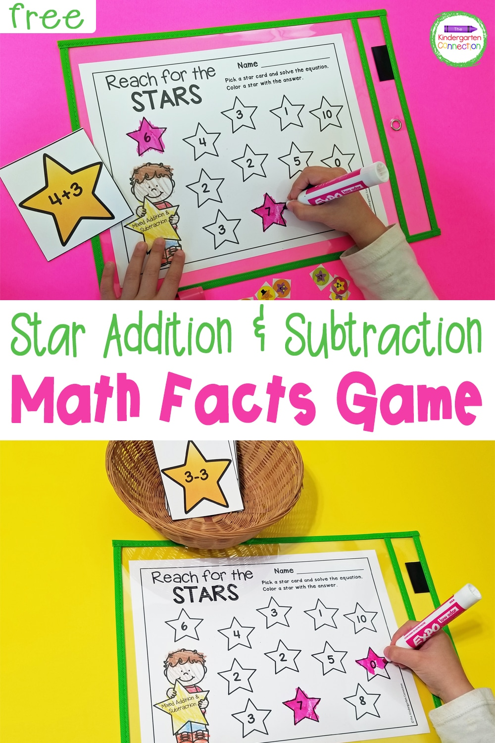Work on both addition and subtraction with this free Star Themed Printable Math Facts game! It's hands-on and low-prep!