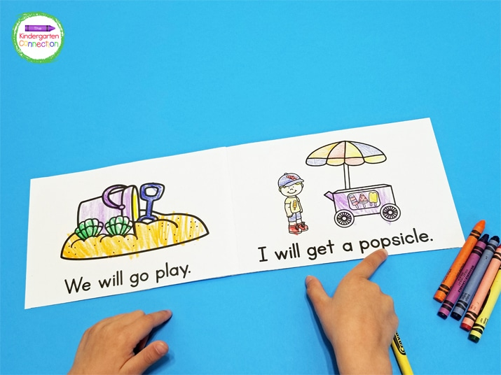 Students can track words in the simple sentences and use the pictures to help them on any words they may not know.