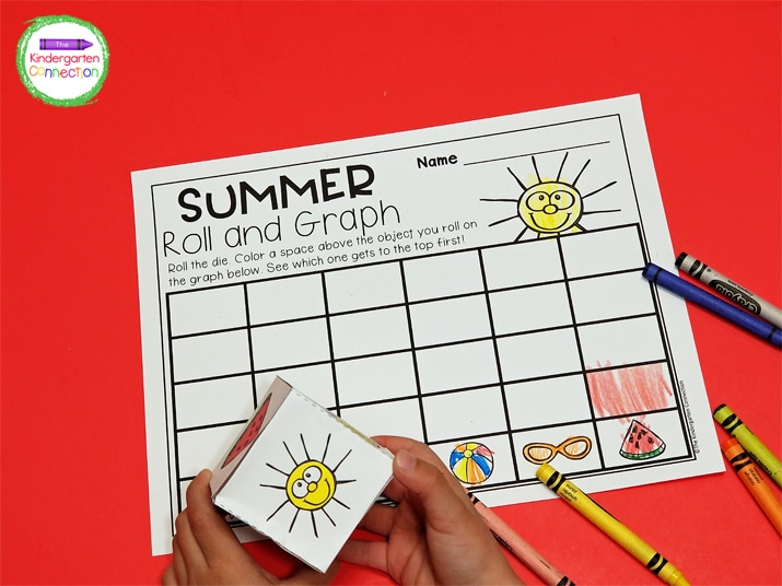 This summer math activity also comes with a printable die that is easy to assemble. Simply cut, fold, and tape to secure.