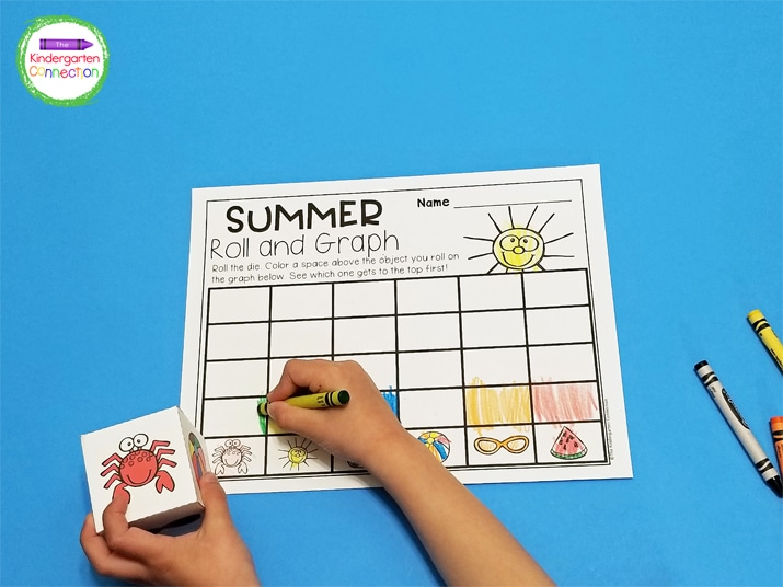 Print the roll and graph recording sheet, printable die, and grab your crayons for a fun math center!