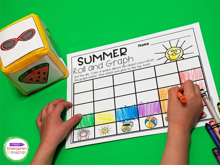 For this summer math activity you can print the picture cards and slip them into a pocket die.
