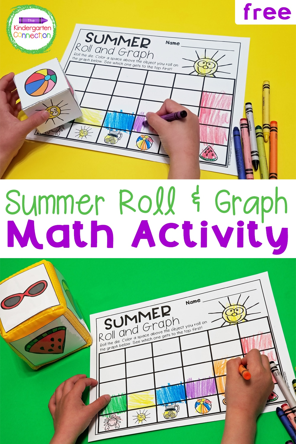 This free Roll and Graph Summer Math Activity for Pre-K & Kindergarten brings the summer fun while also strengthening early graphing skills!