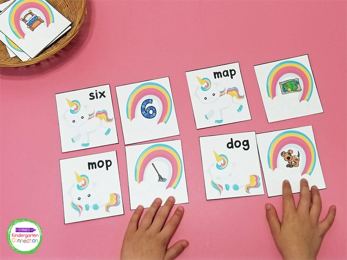 Students match the unicorn CVC word card with the rainbow CVC picture card.