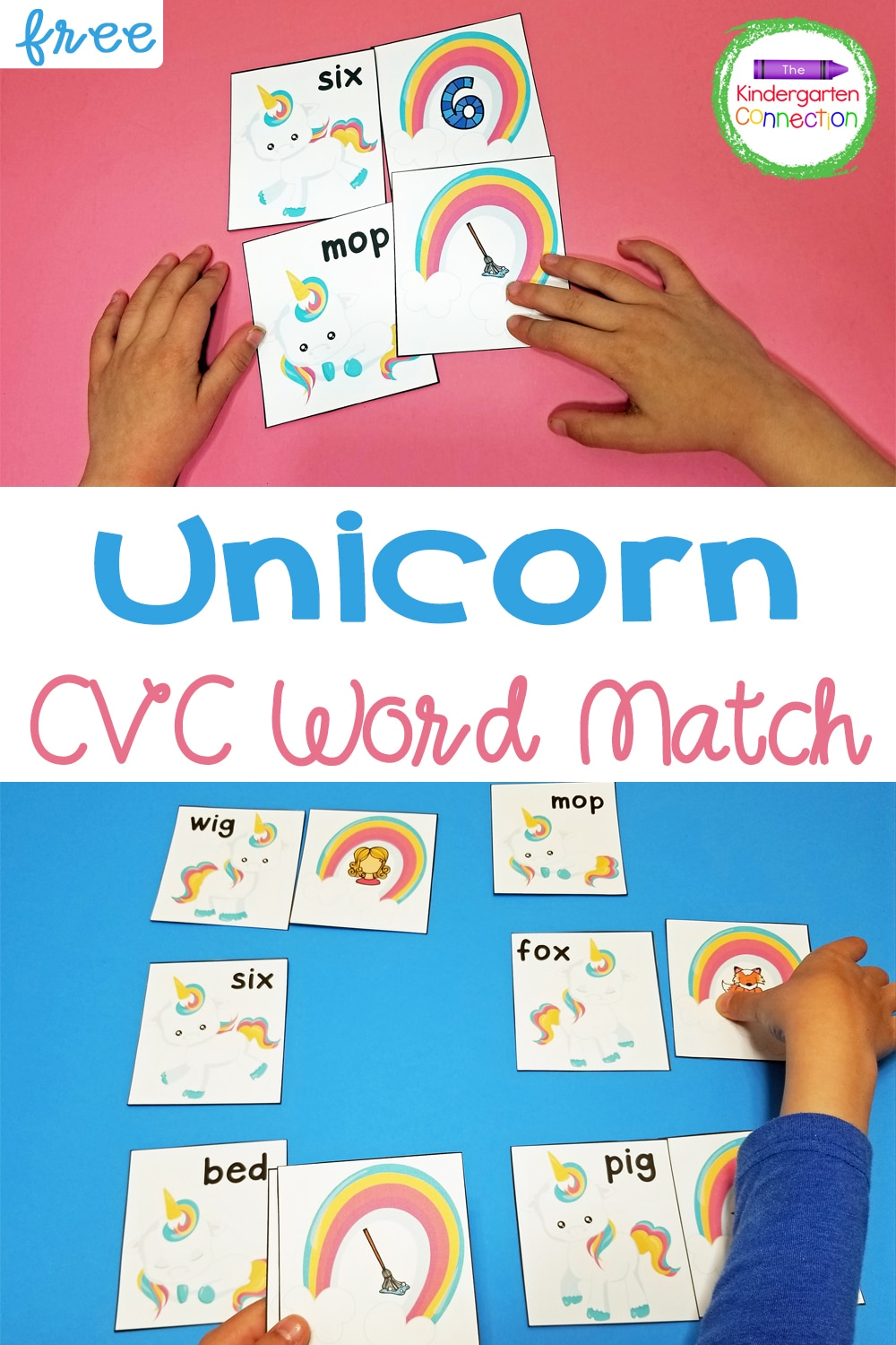 This free Unicorn CVC Word Match is the perfect literacy activity to boost practice with CVC words in a fun, hands-on way!