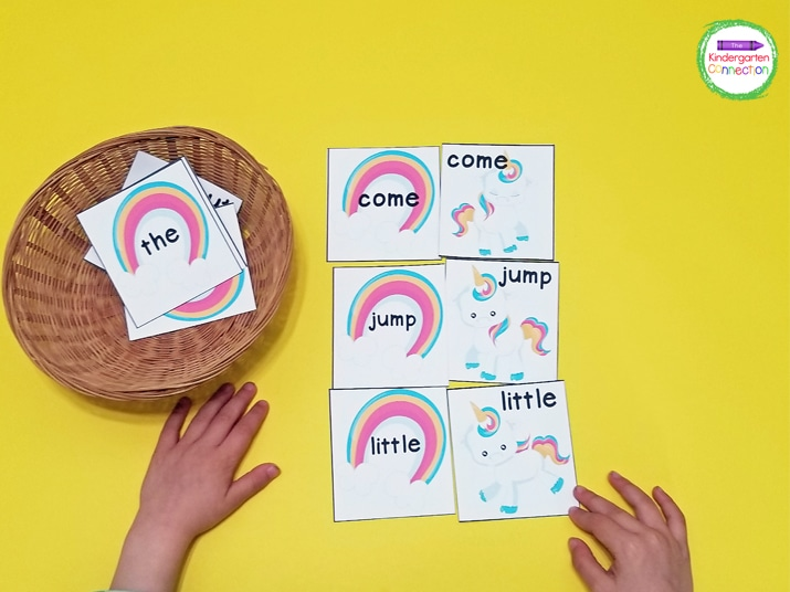 Simply match the rainbow sight word cards with the unicorn sight word cards in this fun sight word matching game.