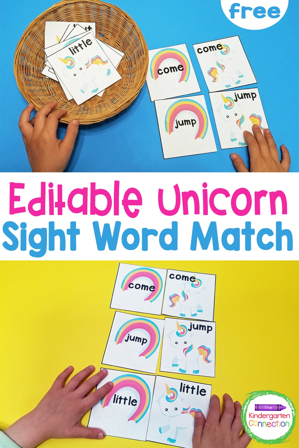 Make practicing sight words magical with this free, editable Unicorn Sight Word Matching Game for Kindergarten and 1st Grade!