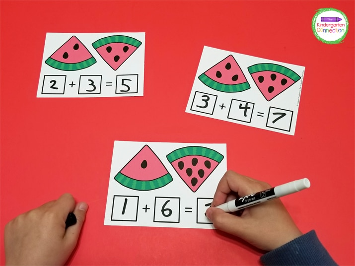 This set of addition cards includes 16 different math facts to 10 with different amounts of seeds to model the addition problems.