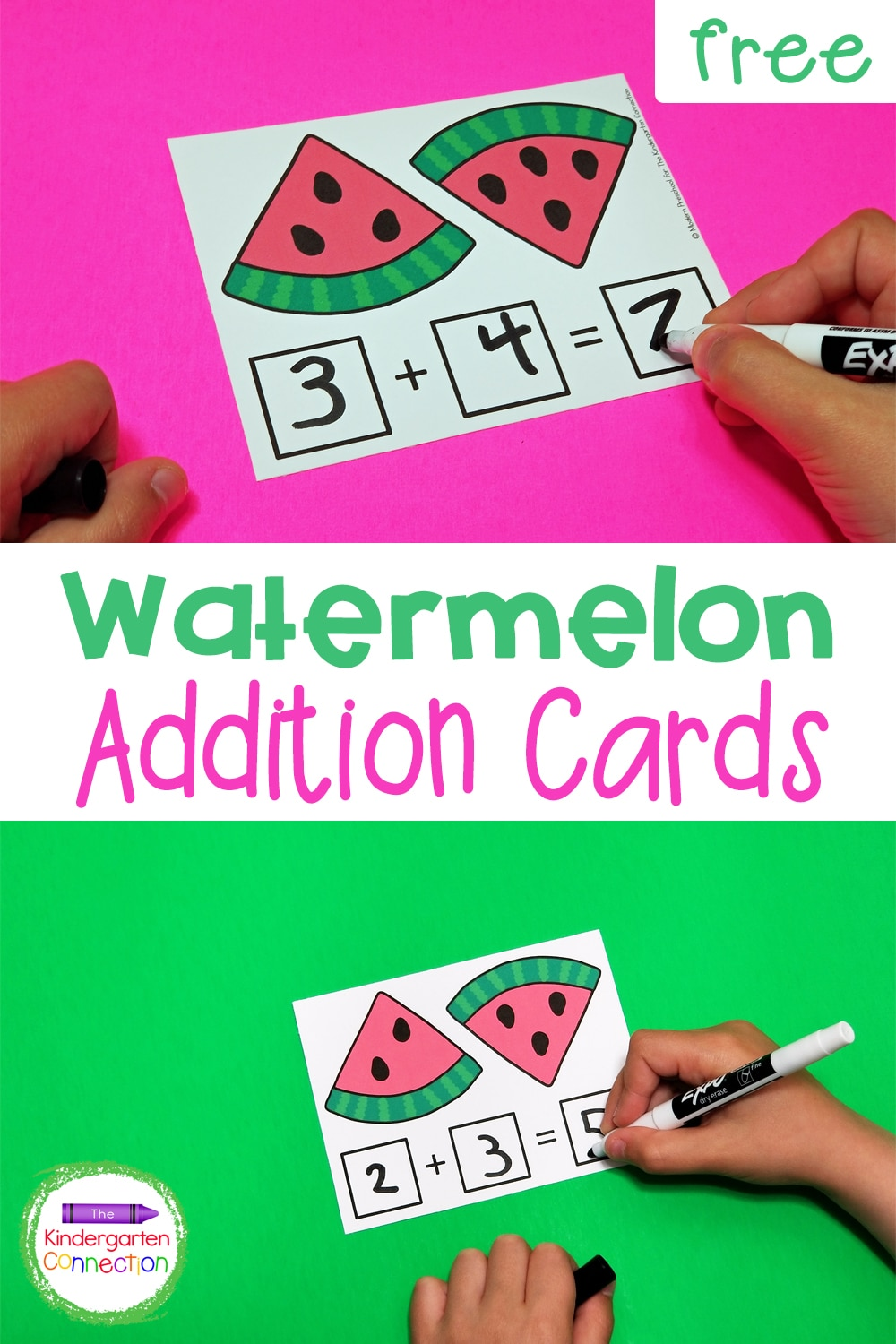 These free printable Watermelon Seed Addition Cards for Kindergarten are a fun way to practice counting and beginning addition skills!