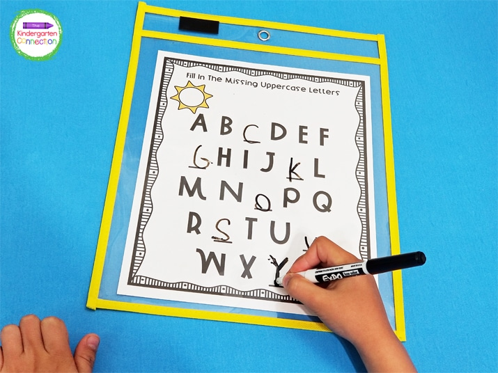 Slip the alphabet printables into dry erase pocket sleeves to make this handwriting activity reusable.