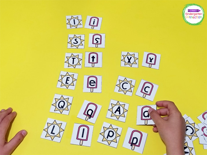 Children can match the uppercase suns with the lowercase popsicles in the letter matching game.