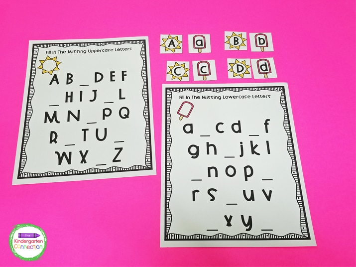 This activity pack includes a fun letter matching game and fill-in-the-blank alphabet printables.