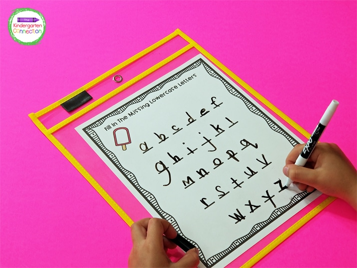 One of the alphabet printables is completely blank so students have the opportunity to write the entire alphabet.