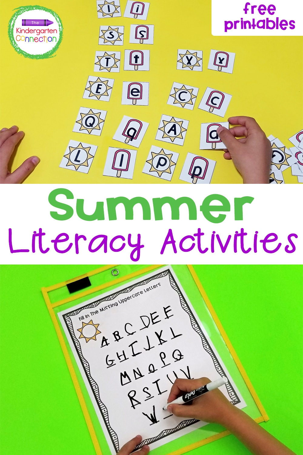Grab these FREE Alphabet Printables for Summer and keep skills sharp over break. They're also perfect for small groups and literacy centers!