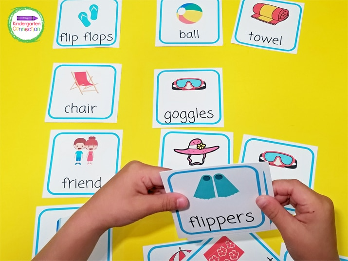 Early learners may find it helpful to see the cards laid out while saying the sentence.