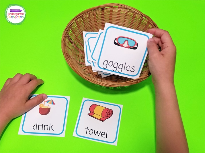 This activity includes 18 colorful beach-themed picture cards.