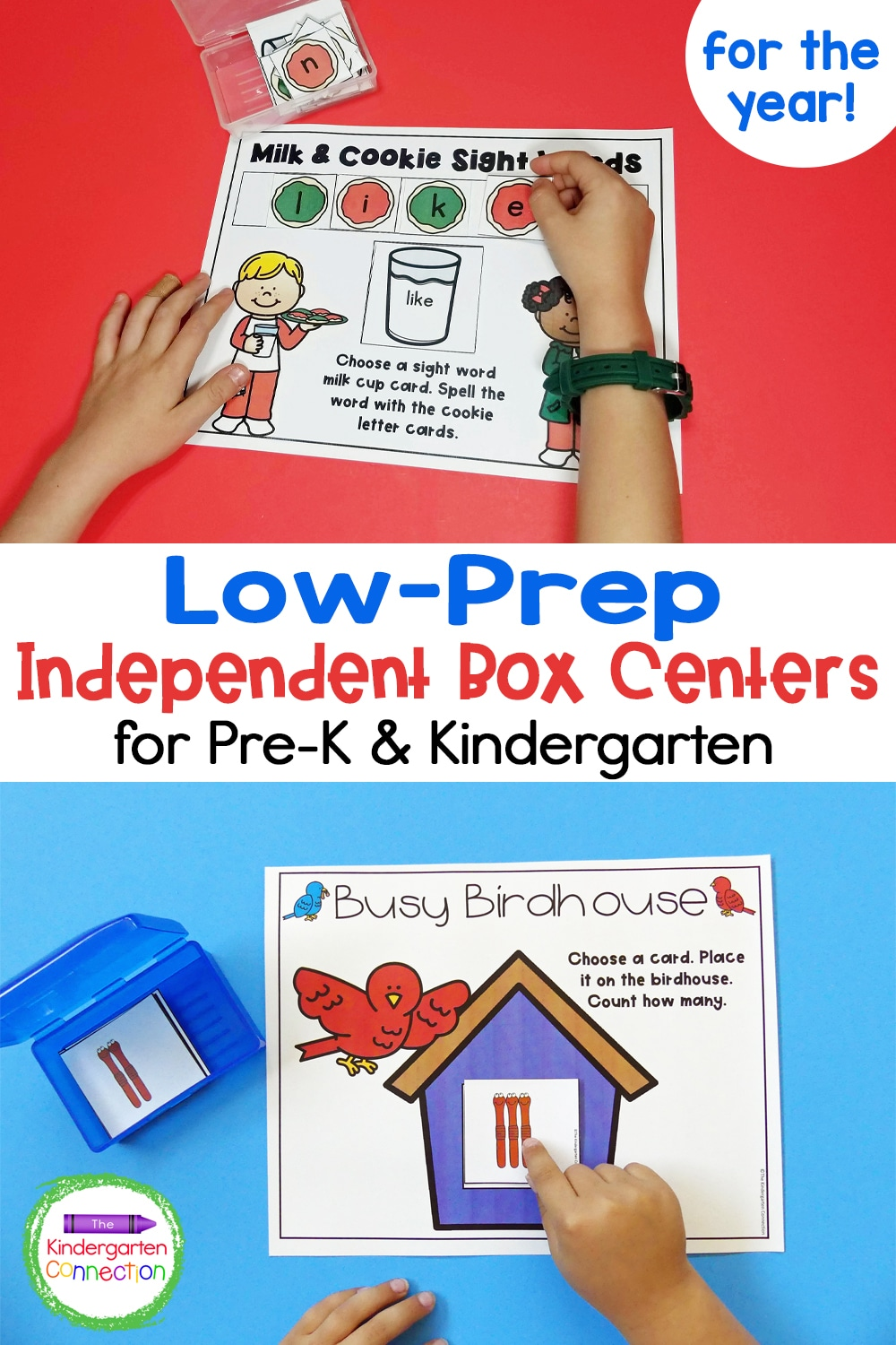 This amazing bundle of box centers will give you Low-Prep Independent Box Centers for Pre-K & Kindergarten for the whole year!