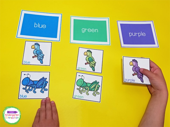 Students will pick a color picture card and place it under the correct color word header.
