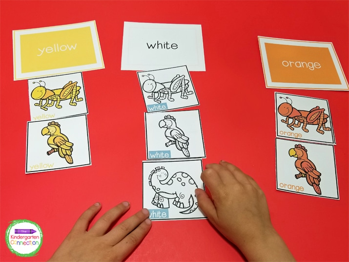 Start with only a few color word headers when students are just beginning to learn color words.