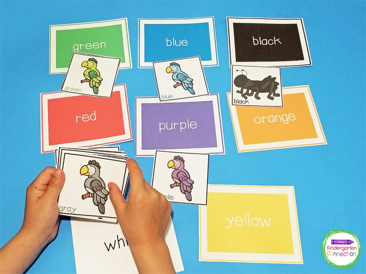 This color sorting activity can also be used as a color matching game.