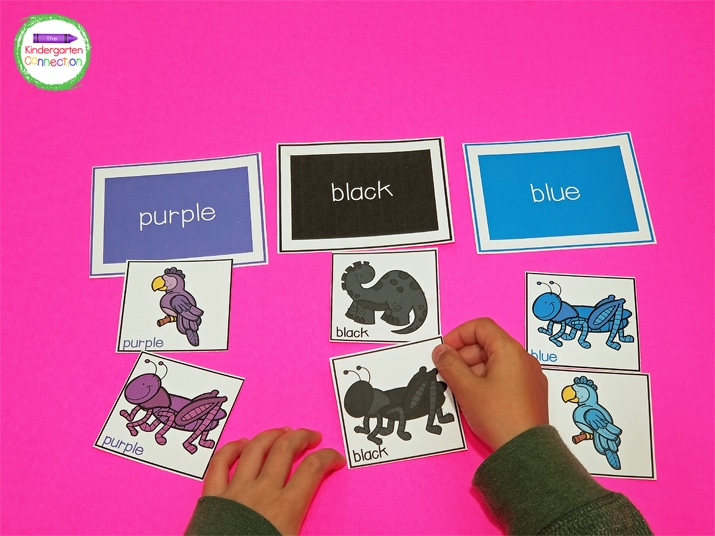 Set out the color word headers on a flat surface for students to sort the pictures.