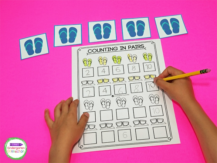 This activity includes flip flop pair cards for students to count and fill in the recording sheet.