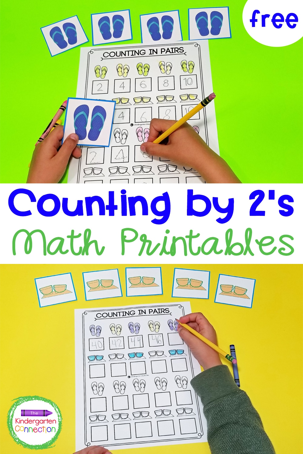 Grab this free, printable Summer Counting by 2's Activity for your Kindergarten math centers or send home for practice over summer break!