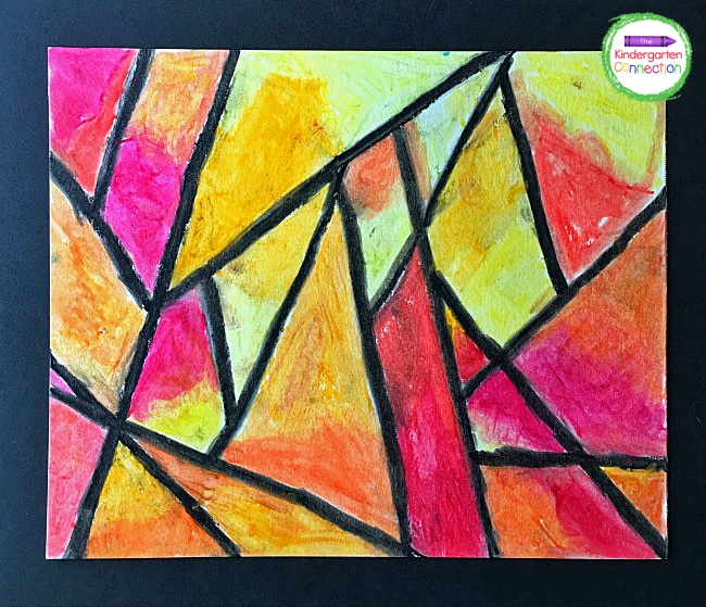 The final oil pastel project makes a beautiful gift for a loved one or display in the classroom.