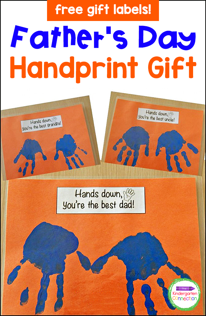 This Father's Day Handprint Gift is a quick and easy craft, and can be customized for grandpas, uncles, and even friends, too!