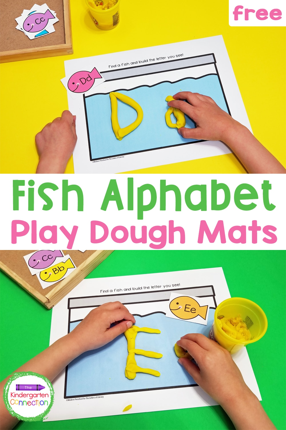 Practice both letter recognition and building CVC words with these fun and free Alphabet Fish Play Dough Mats for Pre-K & Kindergarten!