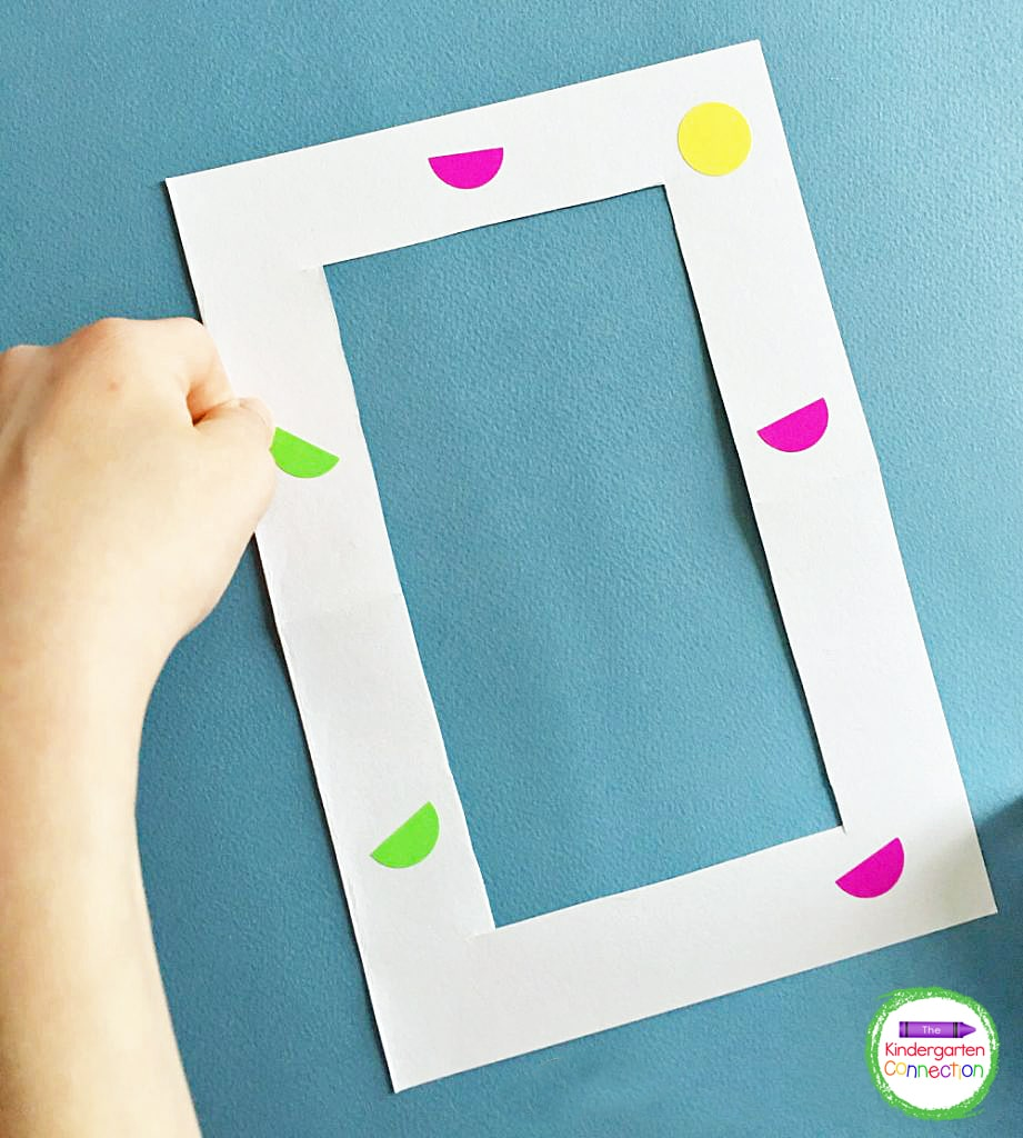 The kids can attach the stickers to the frames wherever they like.
