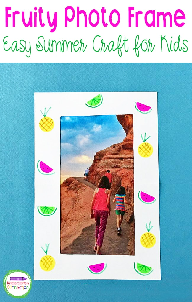 This Fruity Photo Frame Summer Craft for Kids makes a great homemade gift or a beautiful summertime bulletin board display in the classroom!