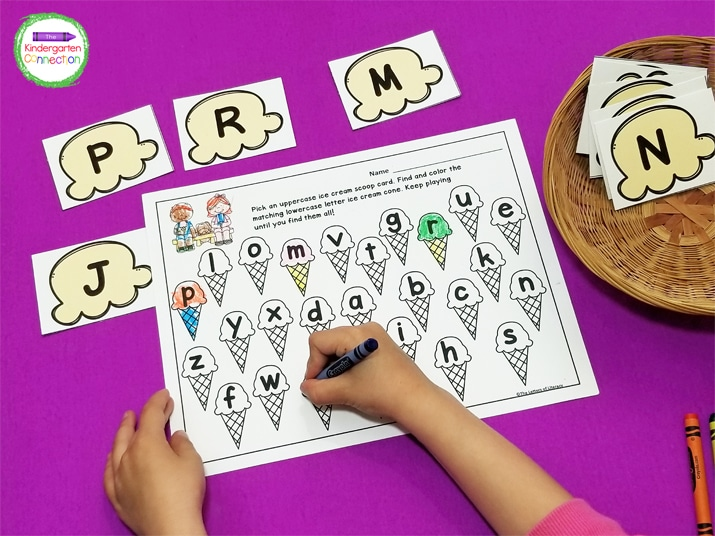 This activity includes ice cream scoop cards for each letter of the alphabet and a recording sheet to go with it.