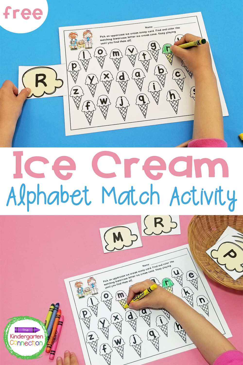 This FREE Ice Cream Alphabet Matching Game is a great way to work on upper and lowercase letter recognition in Pre-K and Kindergarten!