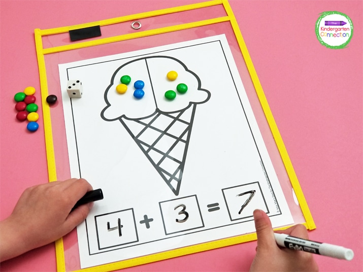 They can write the complete equation below the ice cream cone and build the equation with manipulatives.