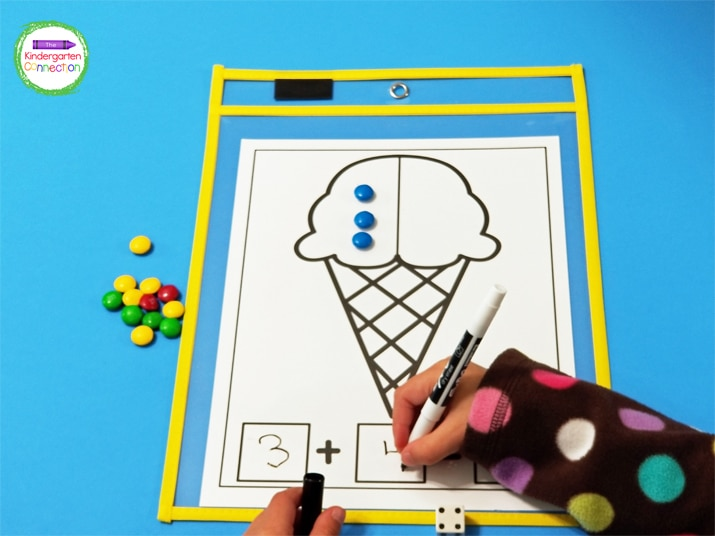 This ice cream activity includes fun math mats for building and writing addition sentences.