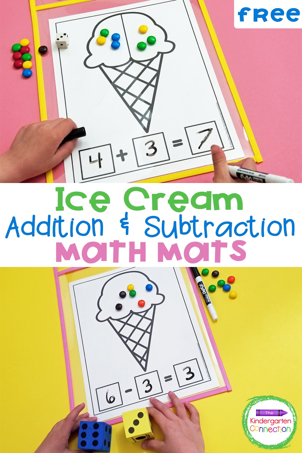 Grab these FREE printable Ice Cream Math Mats and bring some sweet fun to your Kindergarten or 1st grade math centers or small groups!