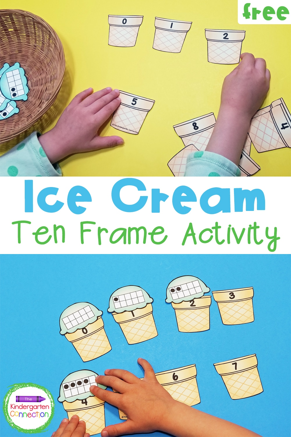 This free Ice Cream Ten Frame Number Match is so fun for preschoolers and kindergarteners to work on counting to 10 and subitizing!
