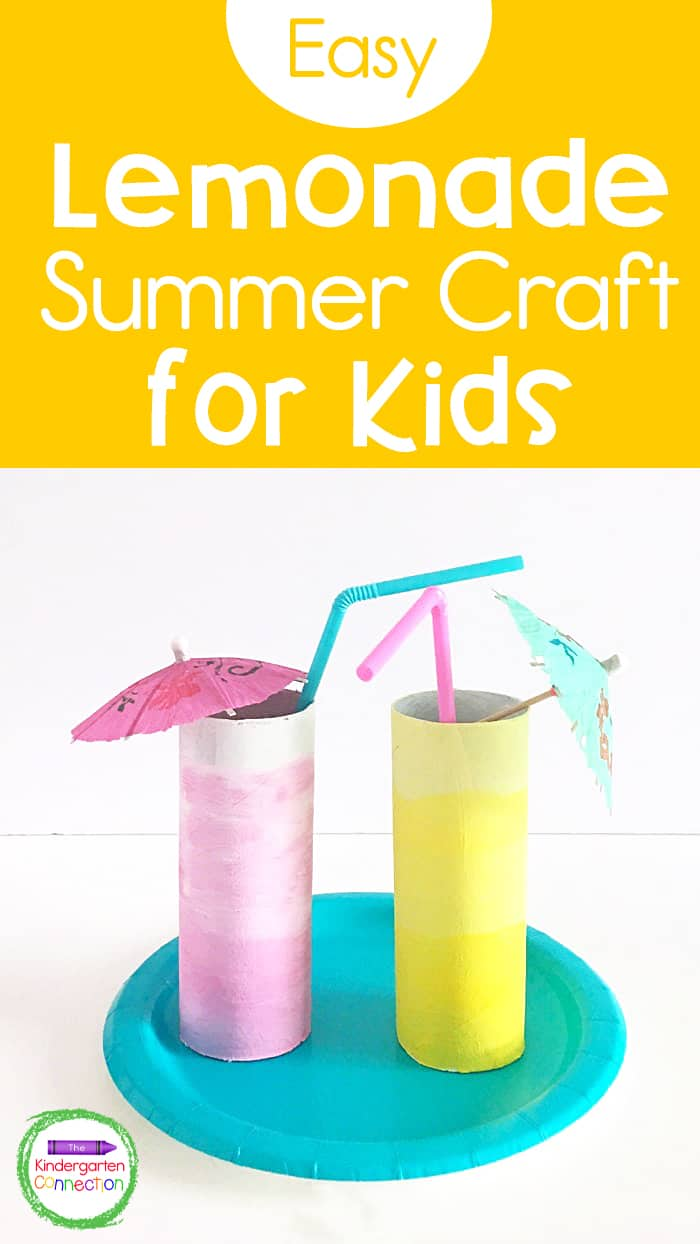 This Lemonade Summer Craft for Kids is a festive way to celebrate summer and encourage lots of imaginative play using simple supplies!