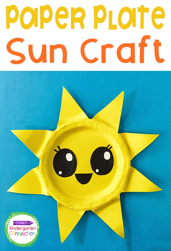 This Paper Plate Sun Craft is the perfect summer craft for kids! It's fun to display and is great for cutting and fine motor skills practice!