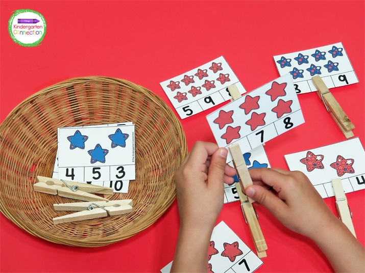 With these counting clip cards, students build fine motor skills as they pinch the clothespins.