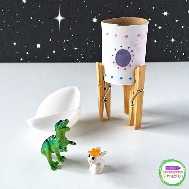 This space craft for kids will inspire tons of fun like sending toy figurines into outer space.