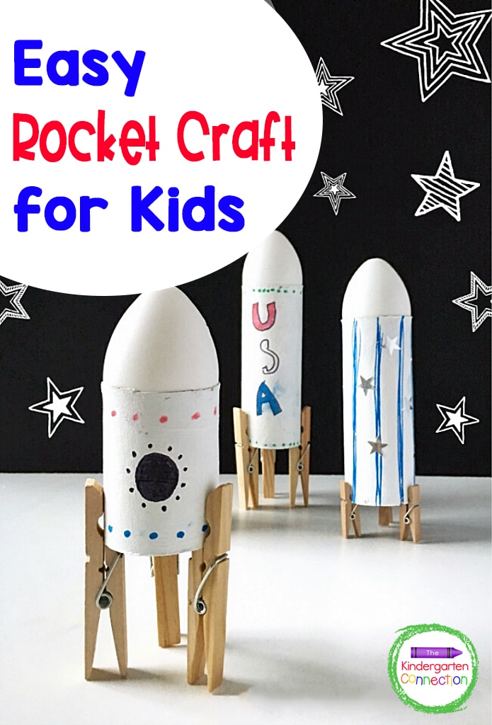 Your kids are going to have a blast making this Simple Rocket Space Craft! It's a super fun, hands-on addition to a Kindergarten space unit!