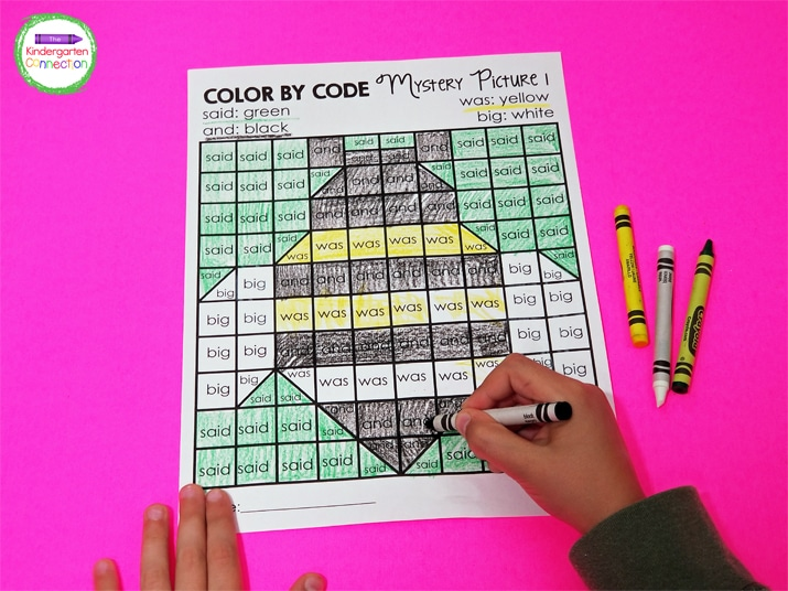 Students use the sight word color codes to color the words and reveal a fun summer picture.