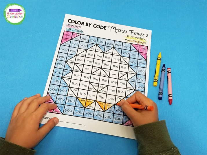 This sight word coloring activity pack focuses on 8 sight words and is designed with Kindergarten in mind.