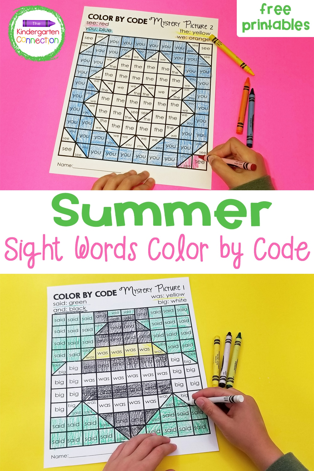These free Summer Sight Word Color by Code Printables are perfect for Kindergarten independent work or to send home for practice over break!