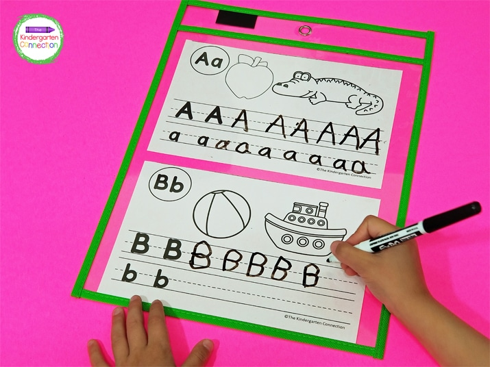 Slip the individual pages into a dry erase pocket sleeve to make them reusable with dry erase markers.
