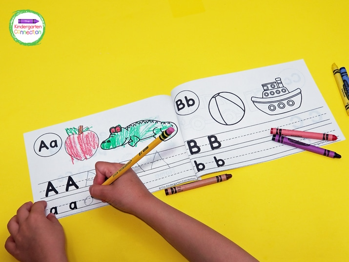 To make the alphabet book, simply print the pages back to back (download below), cut in half, and staple.