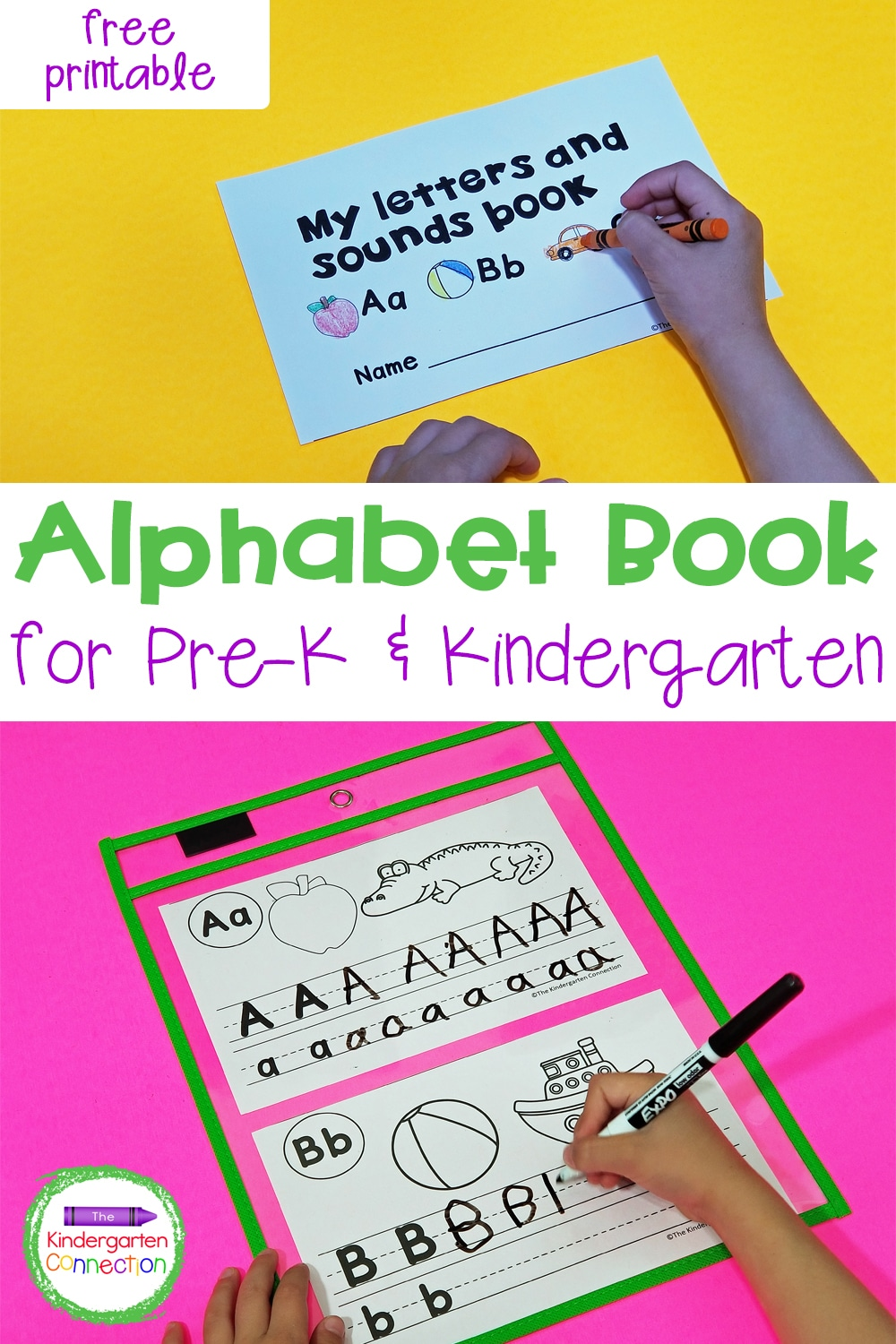 This free Alphabet Book for Pre-K & Kindergarten will give your students practice with letter identification, printing, and beginning sounds!