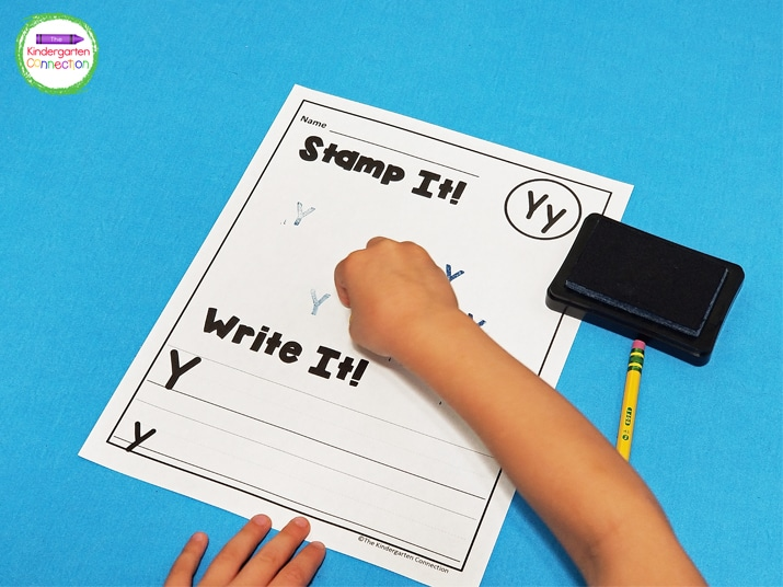 For this activity, students begin by stamping the given letter several times to fill up the blank space at the top of the page.